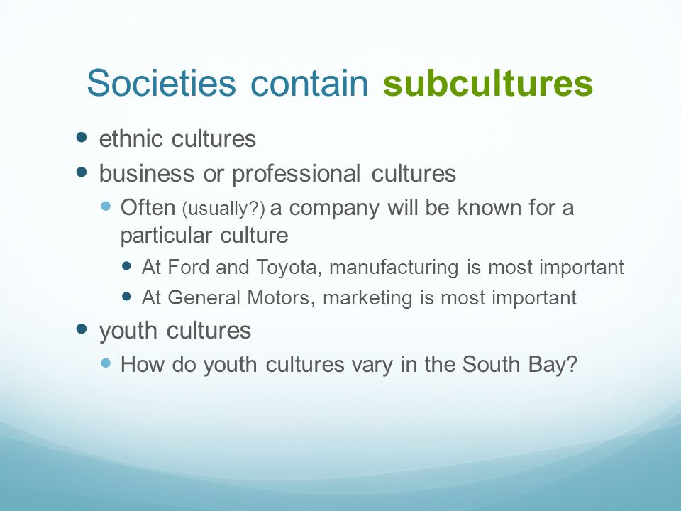 Societies contain subcultures