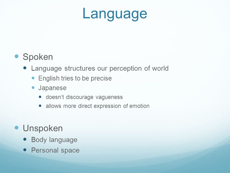 Language Spoken Unspoken Language structures our perception of world