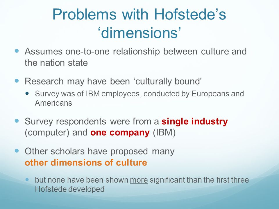 Problems with Hofstede's 'dimensions'