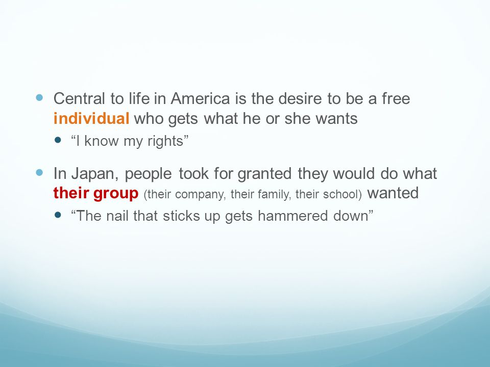 Central to life in America is the desire to be a free individual who gets what he or she wants