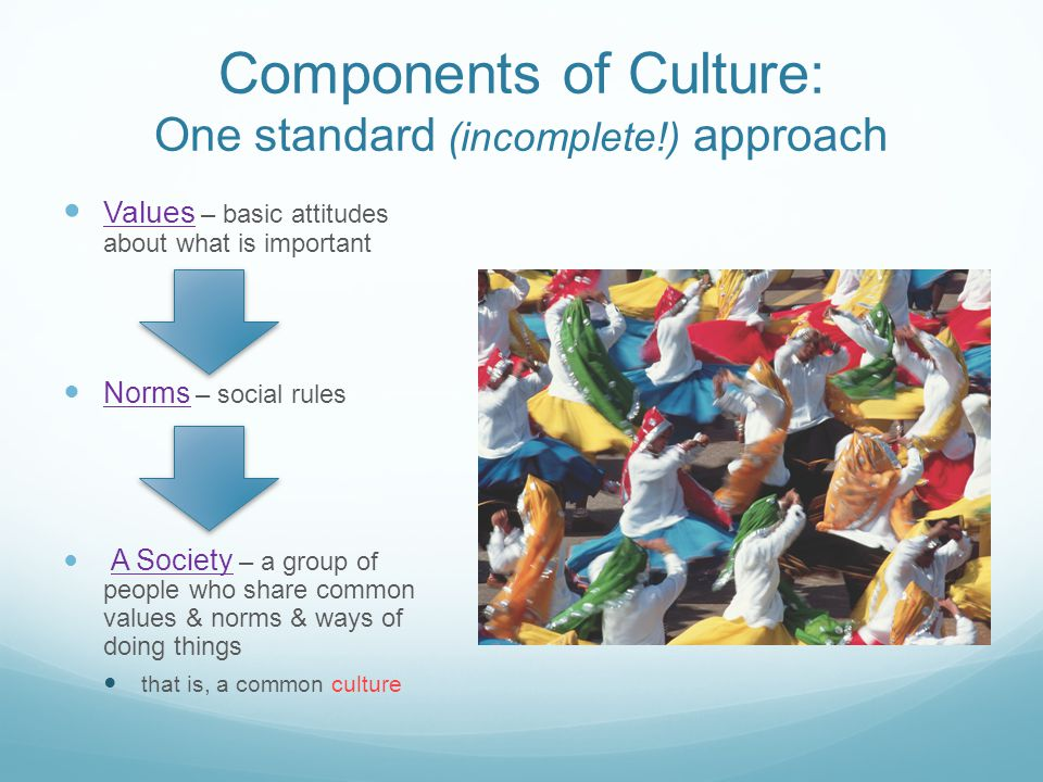 Components of Culture: One standard (incomplete!) approach
