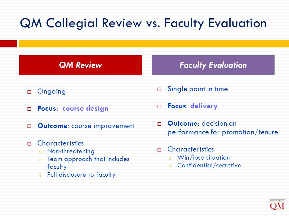 QM Collegial Review vs. Faculty Evaluation