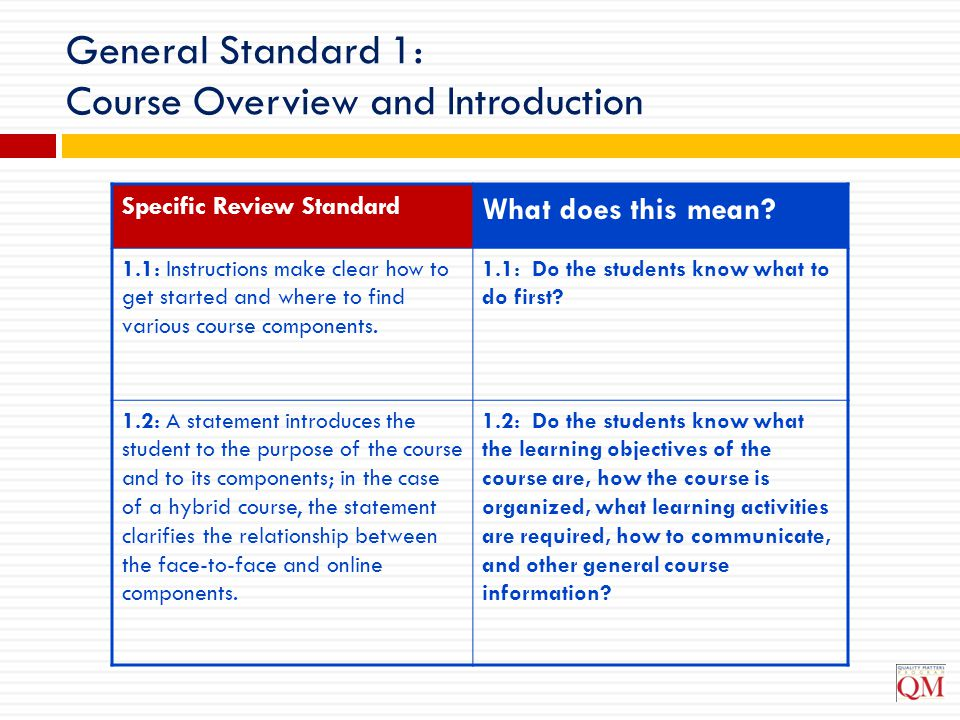 General Standard 1: Course Overview and Introduction