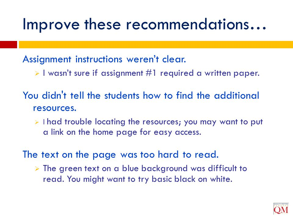 Improve these recommendations…