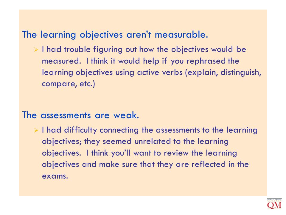 The learning objectives aren't measurable.