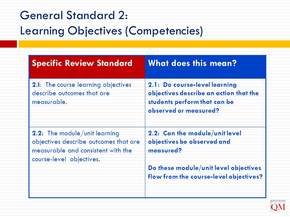 General Standard 2: Learning Objectives (Competencies)