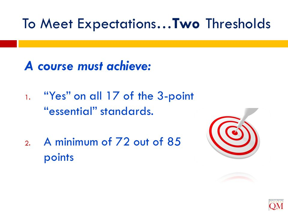 To Meet Expectations…Two Thresholds