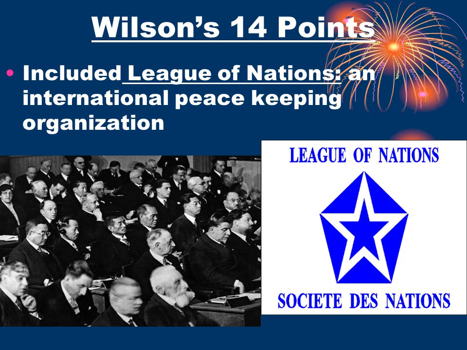 Wilson's 14 Points Included League of Nations: an international peace keeping organization