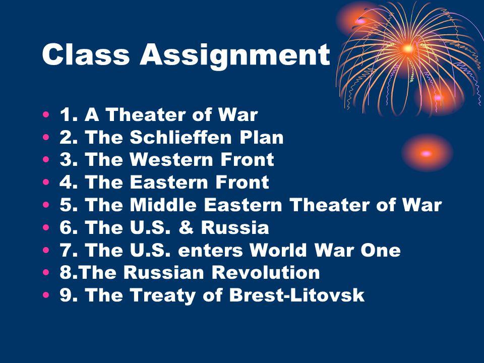 Class Assignment 1. A Theater of War 2. The Schlieffen Plan