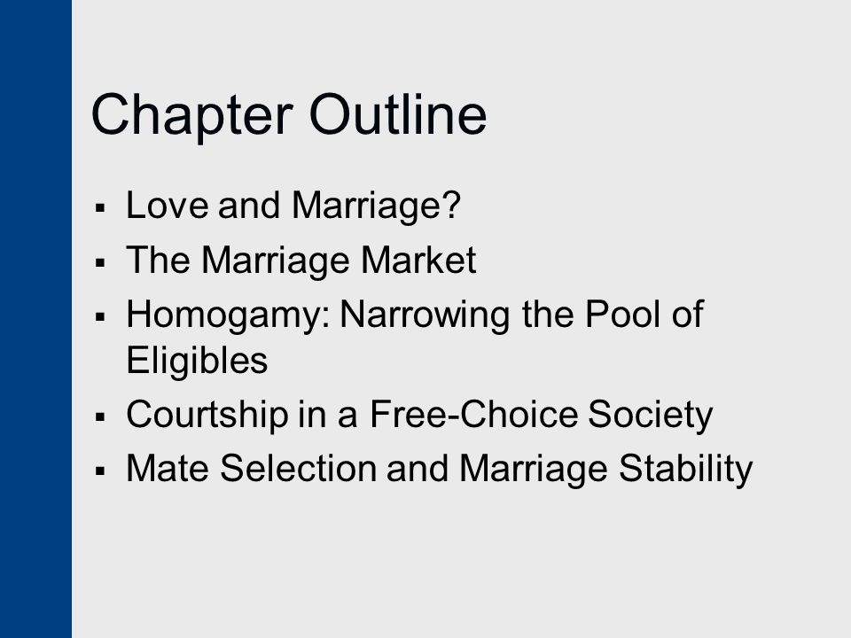 Chapter Outline Love and Marriage The Marriage Market