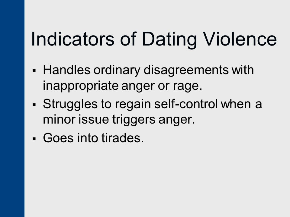 Indicators of Dating Violence