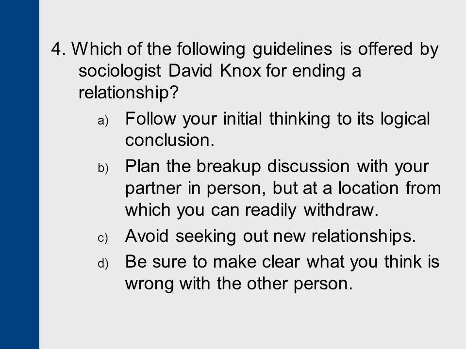 4. Which of the following guidelines is offered by sociologist David Knox for ending a relationship