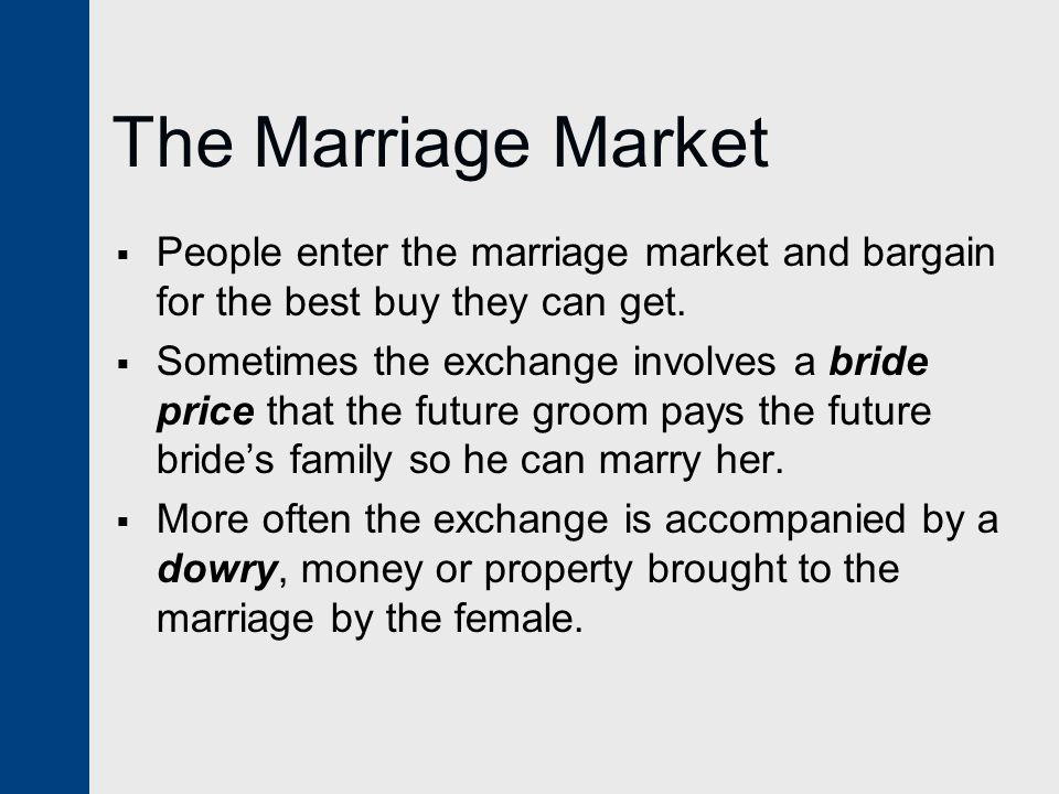 The Marriage Market People enter the marriage market and bargain for the best buy they can get.