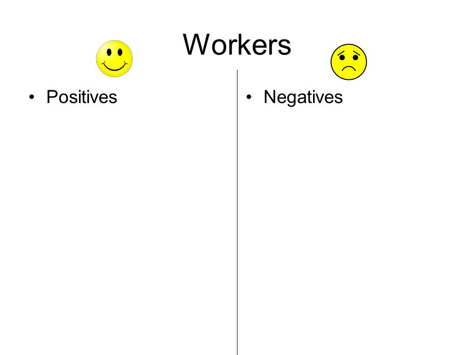Workers Positives Negatives