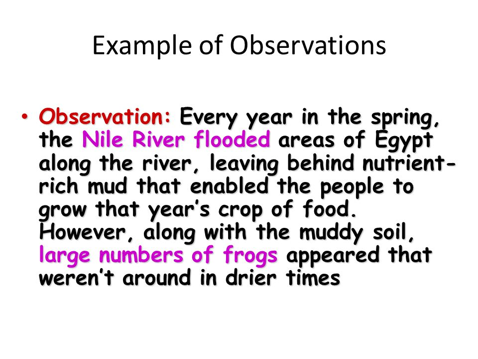 Example of Observations