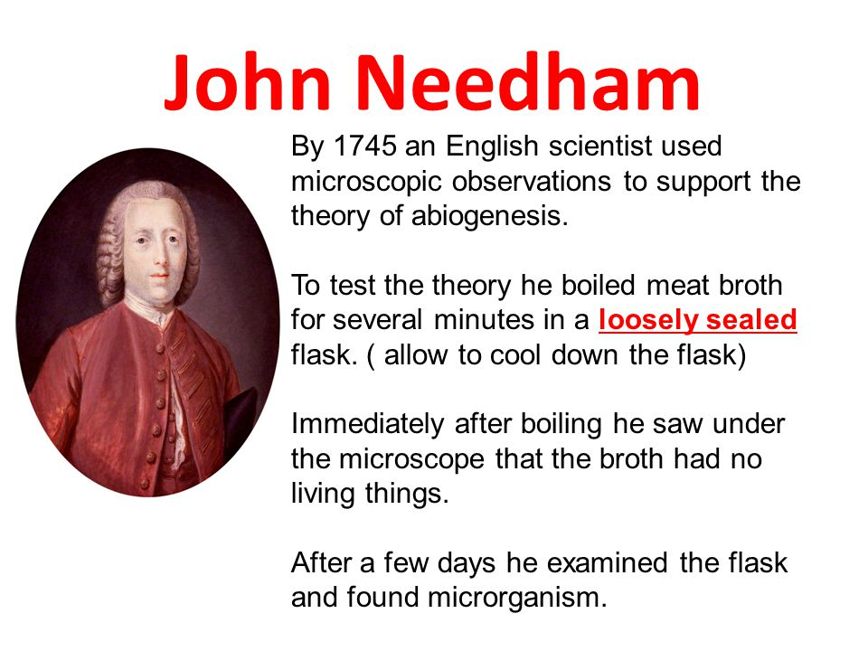 John Needham By 1745 an English scientist used microscopic observations to support the theory of abiogenesis.