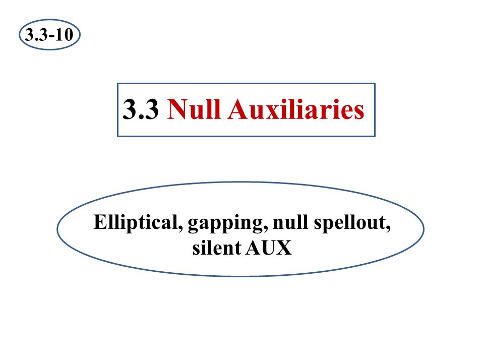 Elliptical, gapping, null spellout, silent AUX