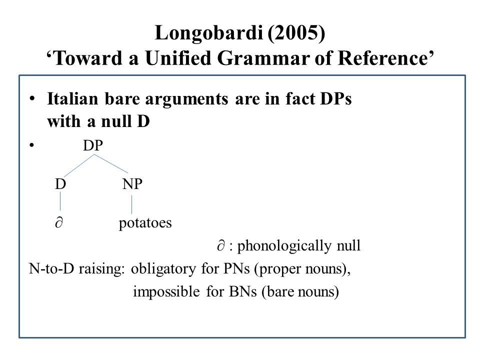 Longobardi (2005) 'Toward a Unified Grammar of Reference'