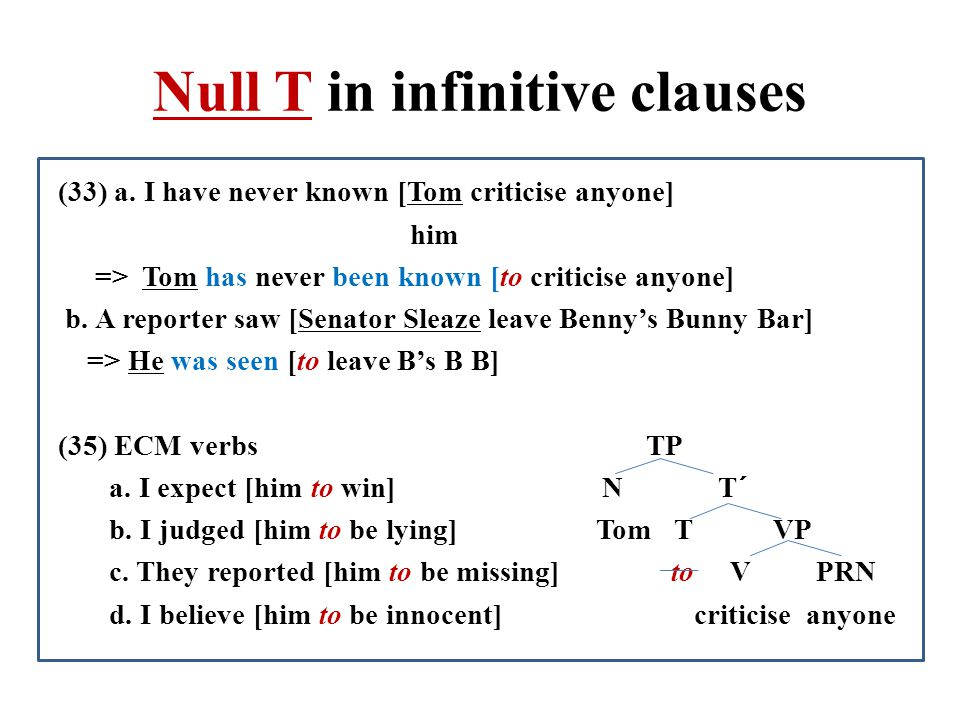 Null T in infinitive clauses