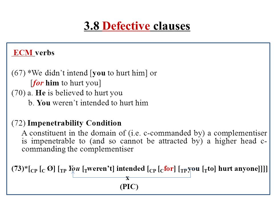 3.8 Defective clauses ECM verbs