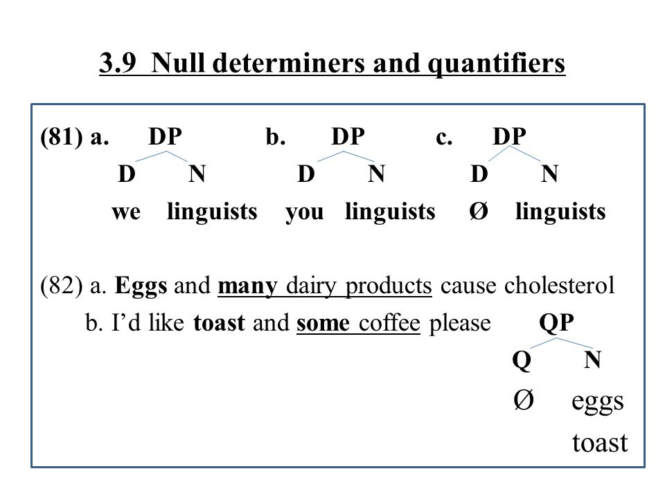 3.9 Null determiners and quantifiers