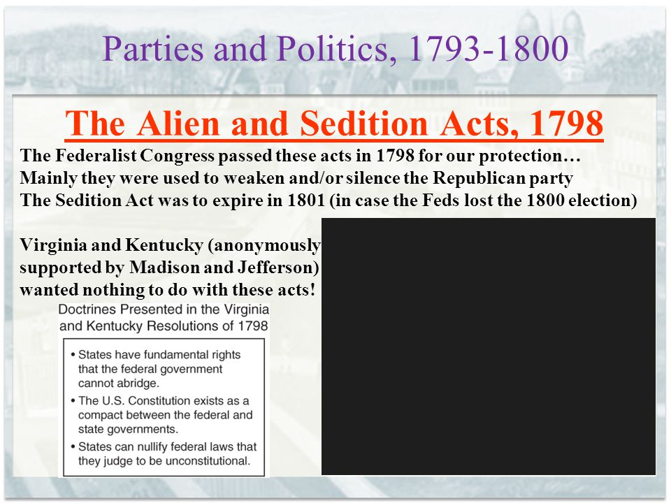 The Alien and Sedition Acts, 1798