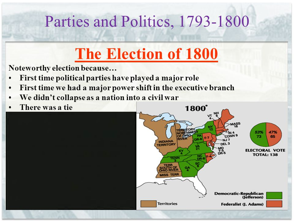 Parties and Politics, 1793-1800 The Election of 1800