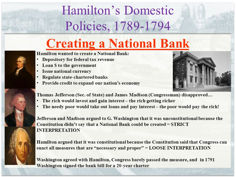 Hamilton's Domestic Policies, 1789-1794