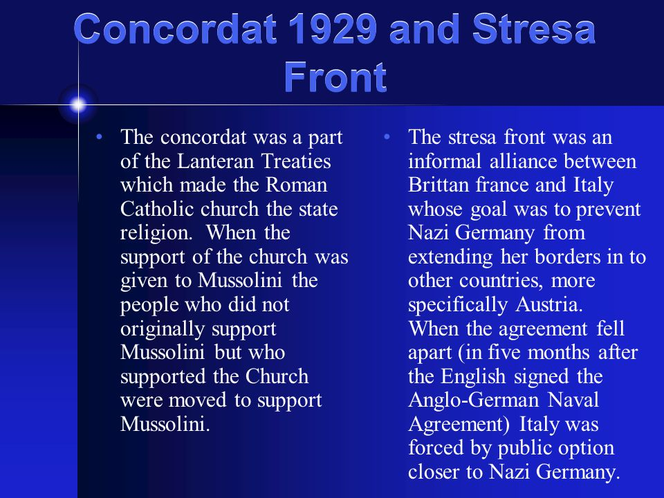 Concordat 1929 and Stresa Front