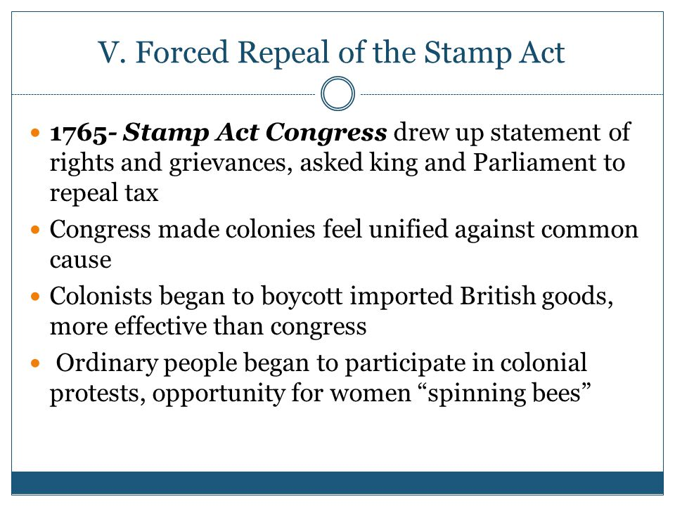 V. Forced Repeal of the Stamp Act