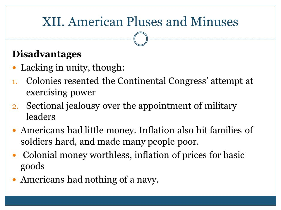 XII. American Pluses and Minuses