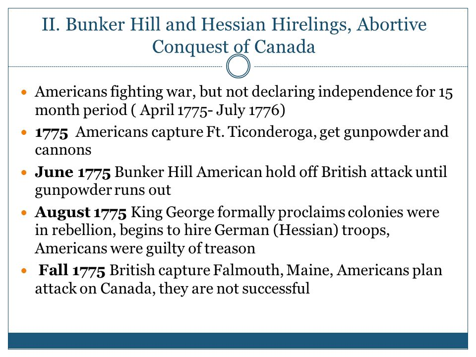 II. Bunker Hill and Hessian Hirelings, Abortive Conquest of Canada