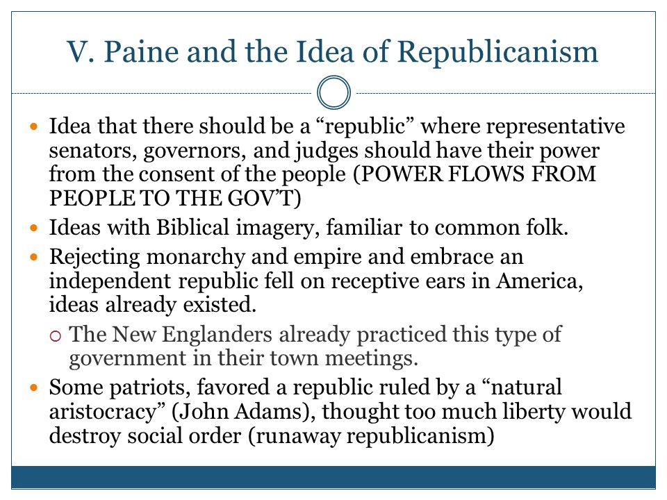 V. Paine and the Idea of Republicanism