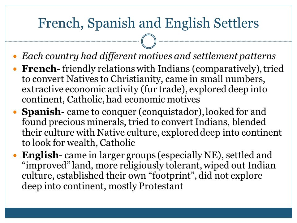French, Spanish and English Settlers