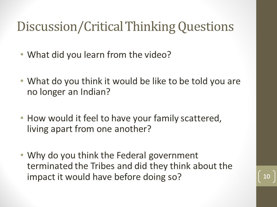 Discussion/Critical Thinking Questions