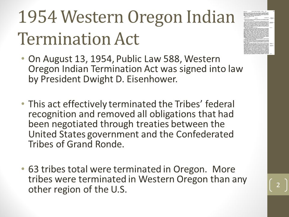 1954 Western Oregon Indian Termination Act