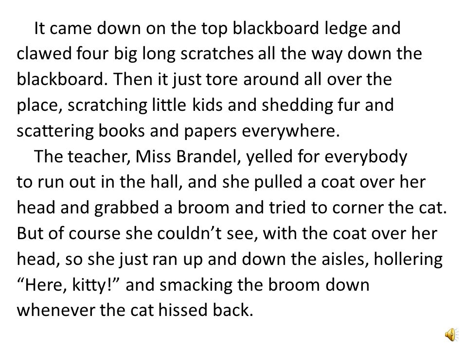 It came down on the top blackboard ledge and clawed four big long scratches all the way down the blackboard.