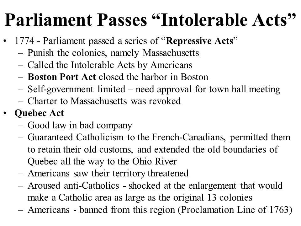 Parliament Passes Intolerable Acts