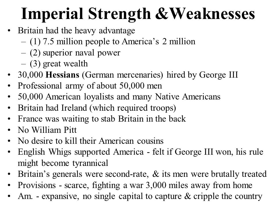 Imperial Strength &Weaknesses
