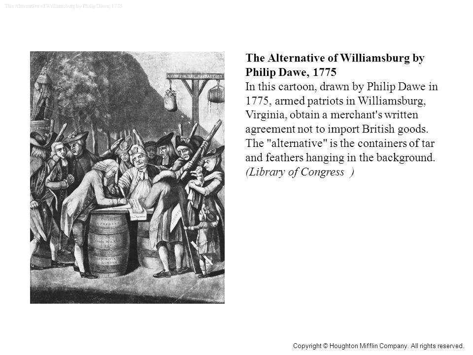 The Alternative of Williamsburg by Philip Dawe, 1775