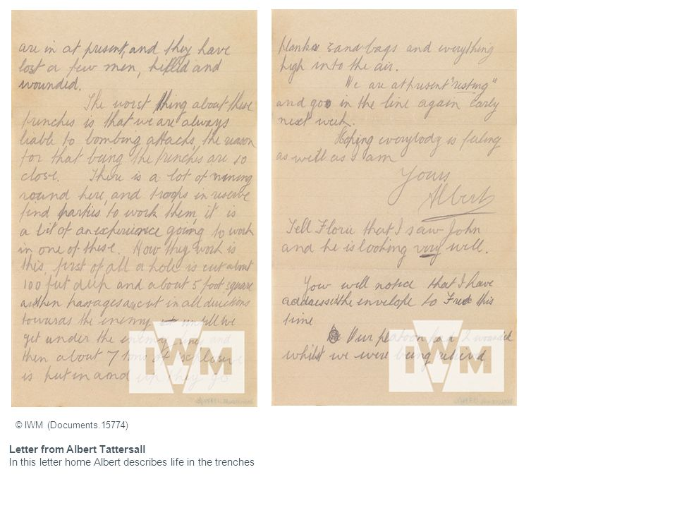Letter from Albert Tattersall