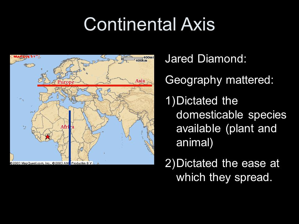 Continental Axis Jared Diamond: Geography mattered: