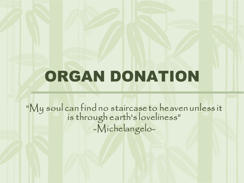 ORGAN DONATION My soul can find no staircase to heaven unless it is through earth s loveliness -Michelangelo-