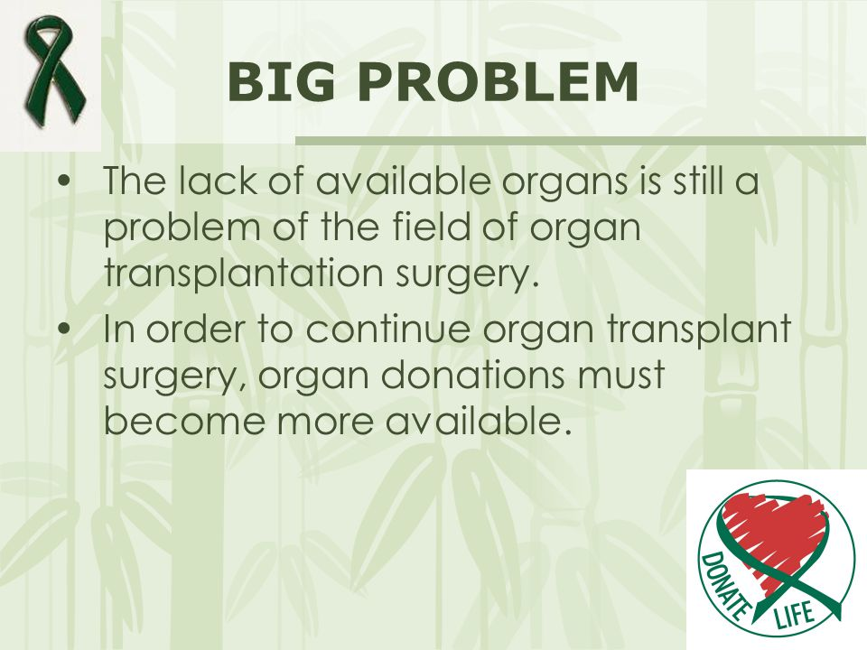 BIG PROBLEM The lack of available organs is still a problem of the field of organ transplantation surgery.