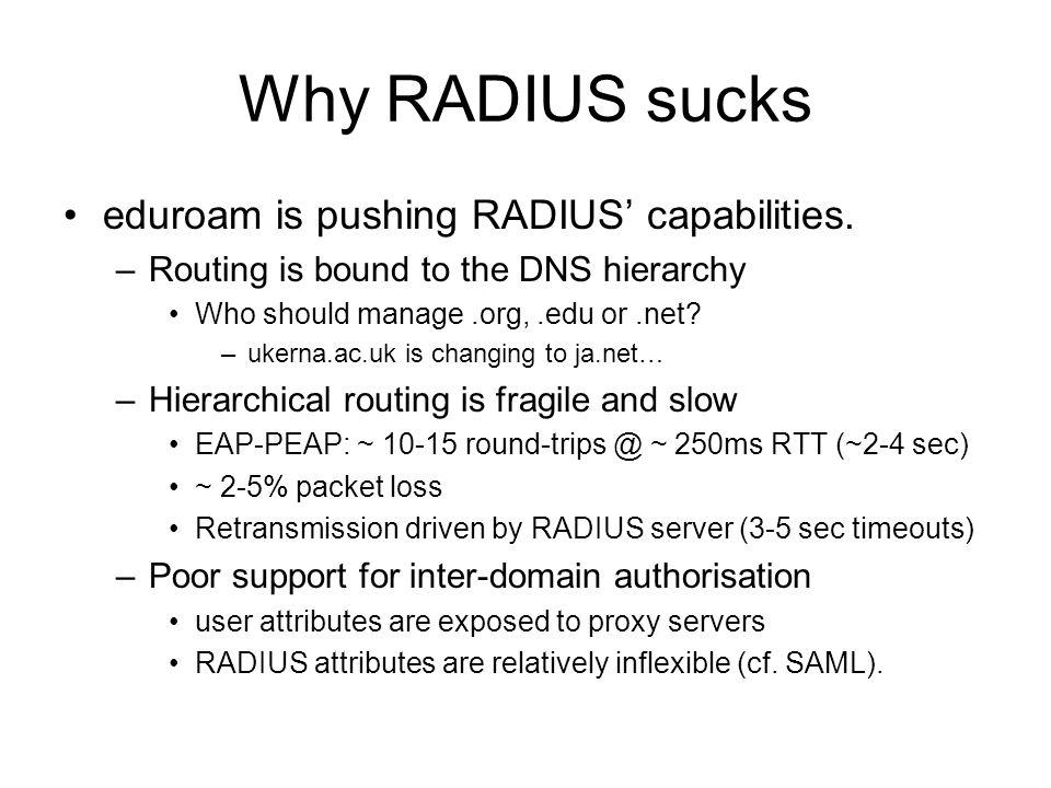 Why RADIUS sucks eduroam is pushing RADIUS' capabilities.