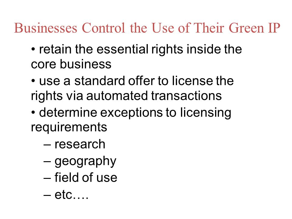 Businesses Control the Use of Their Green IP