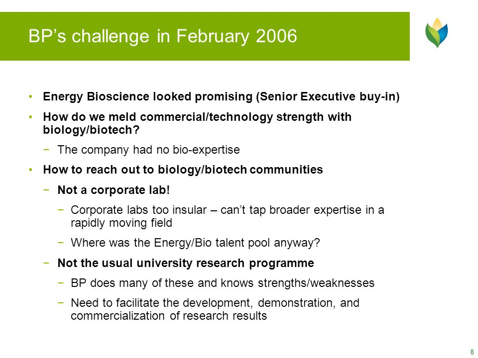 BP's challenge in February 2006