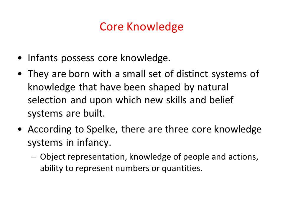 Core Knowledge Infants possess core knowledge.