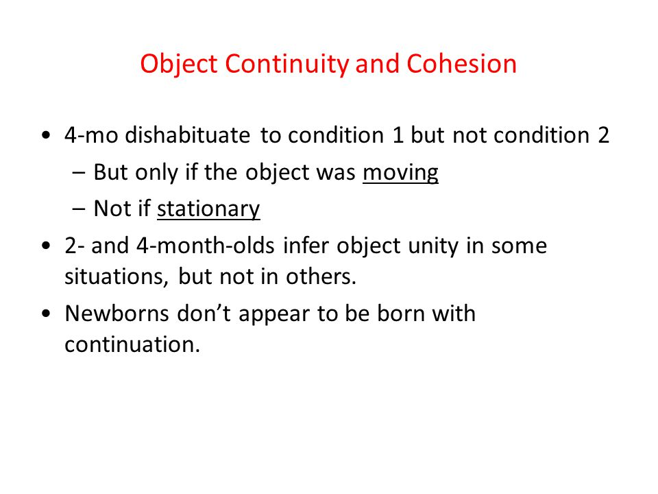Object Continuity and Cohesion