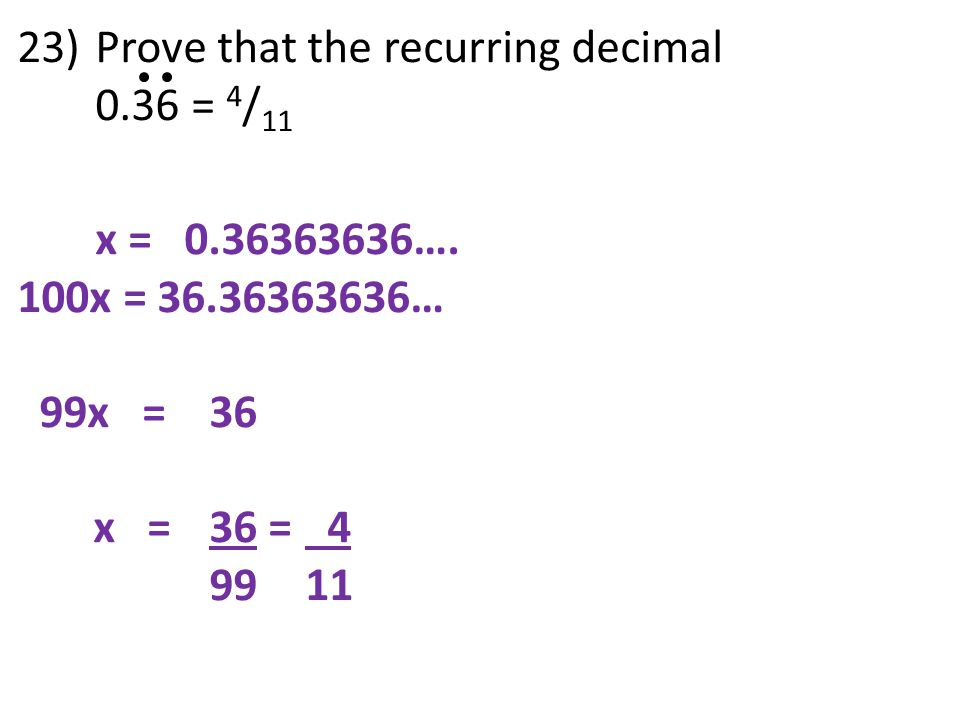 Prove that the recurring decimal